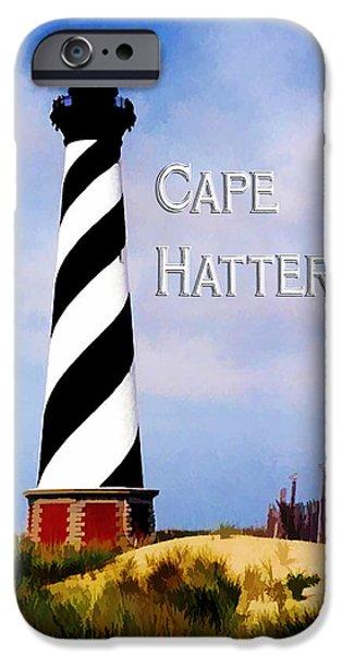 United States iPhone Cases - Cape Hatteras Lighthouse with TEXT Cape Hatteras iPhone Case by Elaine Plesser