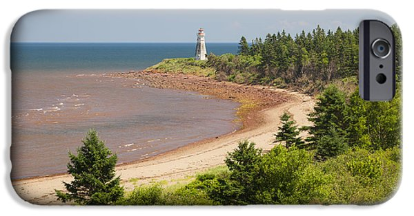 Beach Landscape iPhone Cases - Cape Jourimain lighthouse in New Brunswick iPhone Case by Elena Elisseeva