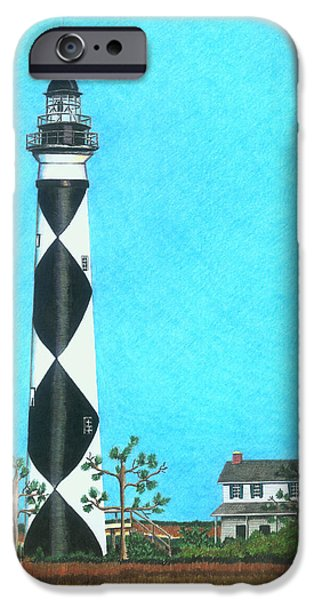 Cape Lookout iPhone Cases - Cape Lookout Lighthouse iPhone Case by Karen Rhodes