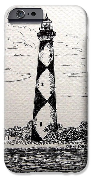 North Sea Drawings iPhone Cases - Cape Lookout Lighthouse NC iPhone Case by Julie Brugh Riffey