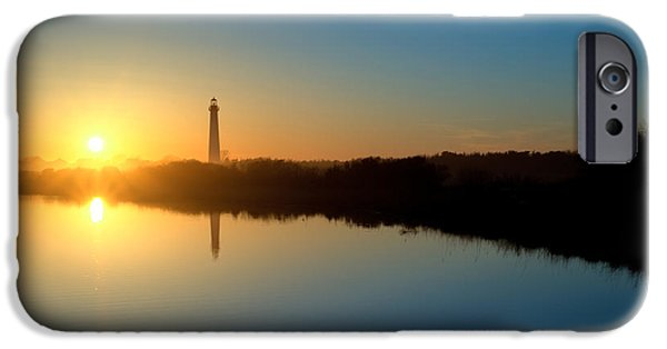 Michael Versprill iPhone Cases - Cape May NJ Lighthouse at sunset iPhone Case by Michael Ver Sprill