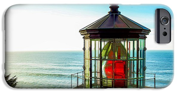 States Tapestries - Textiles iPhone Cases - Cape Meares Lighthouse iPhone Case by Dennis Bucklin