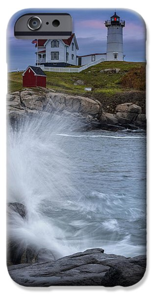Cape Neddick Lighthouse iPhone Cases - Cape Neddick Dusk iPhone Case by Rick Berk