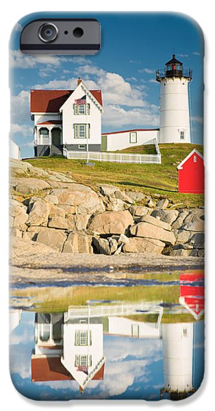 Nubble Lighthouse iPhone Cases - Cape Neddick Light  Reflections iPhone Case by Emmanuel Panagiotakis
