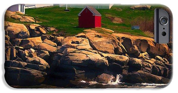 Cape Neddick Lighthouse Paintings iPhone Cases - Cape Neddick Lighthouse  at Sunset  iPhone Case by Elaine Plesser