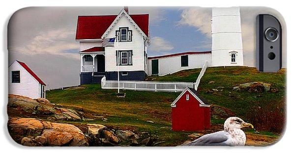 Nubble Lighthouse iPhone Cases - Cape Neddick Lighthouse Maine iPhone Case by Nick Zelinsky