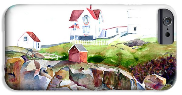 Cape Neddick Lighthouse Paintings iPhone Cases - Cape Neddick Lighthouse ME iPhone Case by Carla Palmer