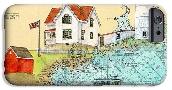New England Lighthouse Paintings iPhone Cases - Cape Neddick Lighthouse ME Nautical Chart Map Art Cathy Peek iPhone Case by Cathy Peek