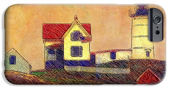 Cape Neddick Lighthouse Digital Art iPhone Cases - Cape Neddick Lighthouse iPhone Case by Melinda Dreyer