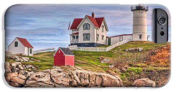 Nubble Lighthouse iPhone Cases - Cape Neddick Nubble Lighthouse II iPhone Case by Clarence Holmes