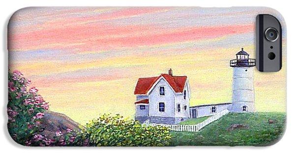 Cape Neddick Lighthouse Paintings iPhone Cases - Cape Neddick Sunrise iPhone Case by Fran Brooks