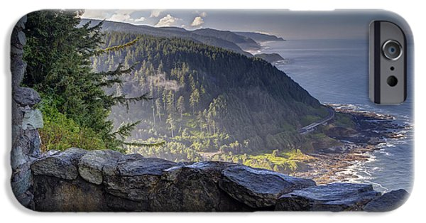 Coastal Places iPhone Cases - Cape Perpetua Lookout iPhone Case by Mark Kiver