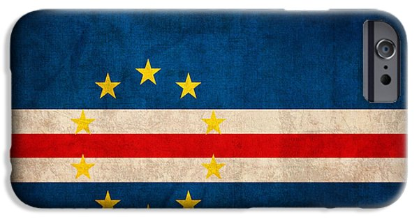 Nation iPhone Cases - Cape Verde Flag Vintage Distressed Finish iPhone Case by Design Turnpike