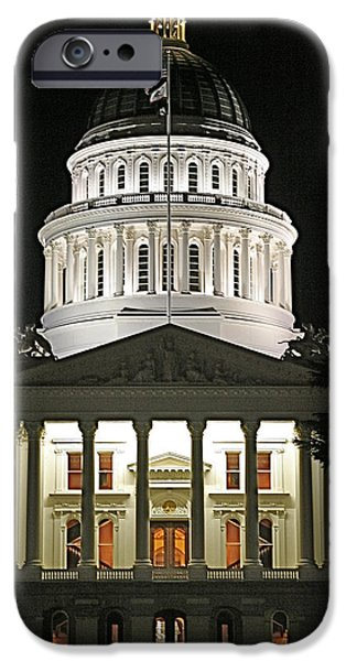 Flag Pyrography iPhone Cases - Capital Building Sacramento California iPhone Case by DUG Harpster