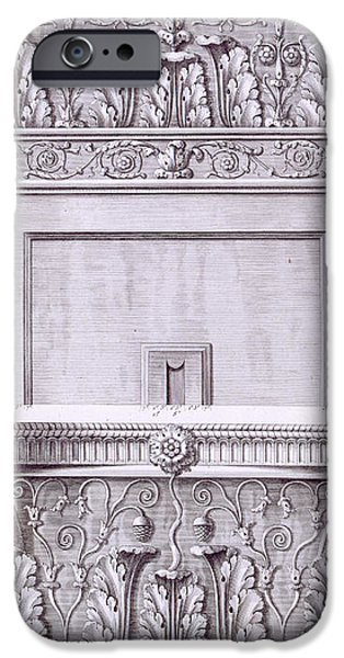 Detailed Drawings iPhone Cases - Capitals from the temple near the Roman Baths iPhone Case by French School