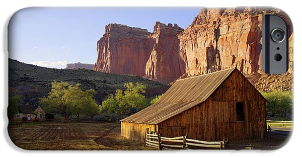 Red Rock iPhone Cases - Capitol Barn iPhone Case by Chad Dutson