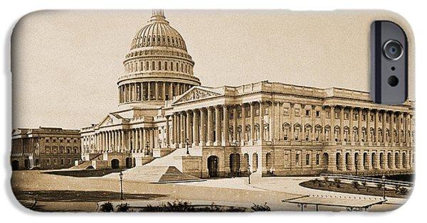 D.c. iPhone Cases - Capitol Building, Washington, D.c., 1880 iPhone Case by Wellcome Images