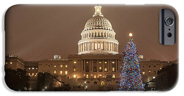 Christmas Eve iPhone Cases - Capitol Christmas iPhone Case by Terry Rowe
