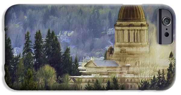 Freedom iPhone Cases - Capitol Mist iPhone Case by Jean OKeeffe Macro Abundance Art