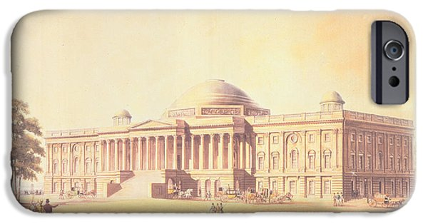 Capitol Hill iPhone Cases - Capitol Of The United States, Engraved By Thomas Sutherland, 1825 Aquatint iPhone Case by Benjamin Henry Latrobe