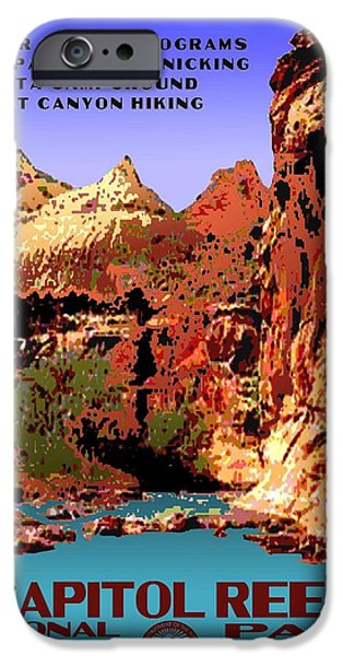 Scenic Drive iPhone Cases - Capitol Reef National Park Vintage Poster iPhone Case by Eric Glaser