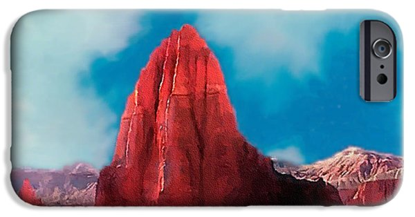 Red Rock iPhone Cases - Capitol Reef Temple of the Sun Painting ForSale iPhone Case by  Bob Johnston