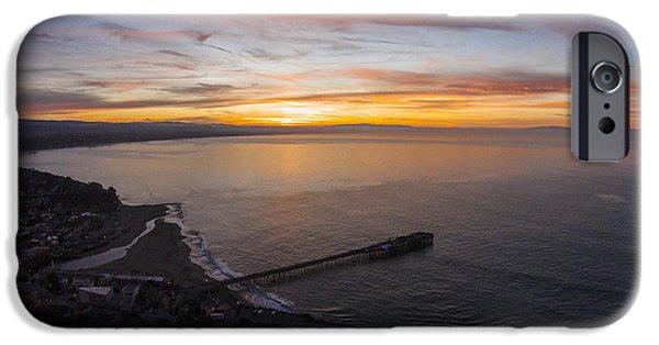 Santa Cruz Wharf iPhone Cases - Capitola Wharf Sunrise iPhone Case by David Levy