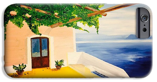Sicily Paintings iPhone Cases - Alicudi in Sicily  iPhone Case by Diana Dzene
