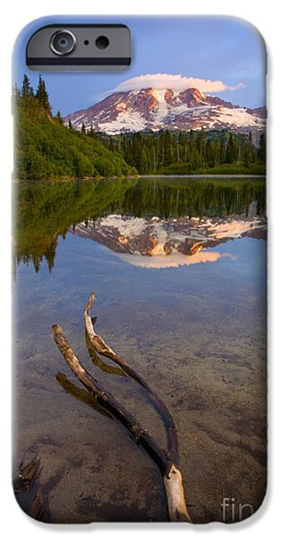 Mt Rainier iPhone Cases - Capped Sunrise iPhone Case by Mike  Dawson