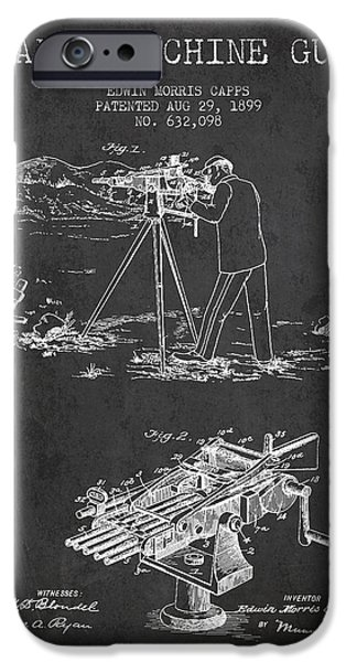Machines iPhone Cases - Capps Machine Gun Patent Drawing from 1899 - Dark iPhone Case by Aged Pixel
