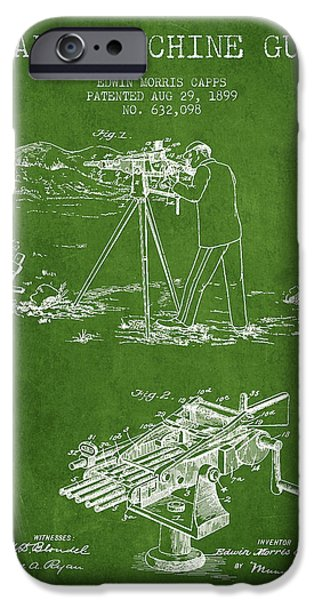 Machine iPhone Cases - Capps Machine Gun Patent Drawing from 1899 - Green iPhone Case by Aged Pixel
