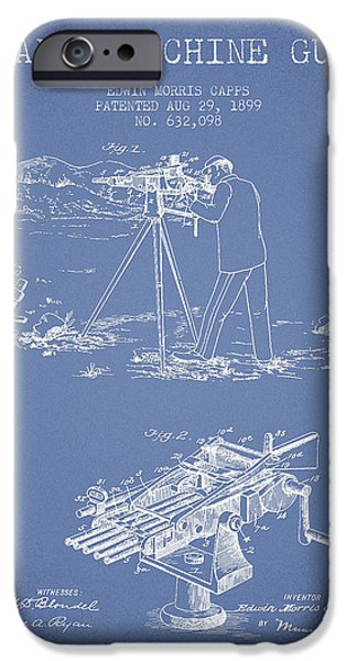 Weapon iPhone Cases - Capps Machine Gun Patent Drawing from 1899 - Light Blue iPhone Case by Aged Pixel