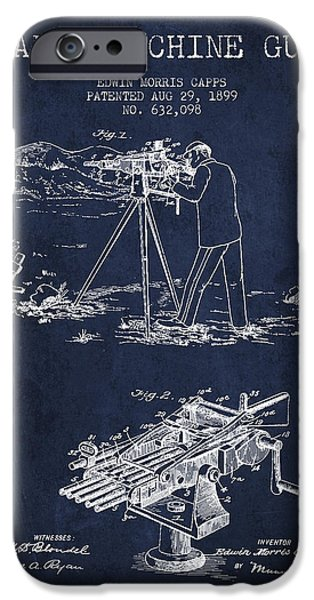 Small Digital Art iPhone Cases - Capps Machine Gun Patent Drawing from 1899 - Navy Blue iPhone Case by Aged Pixel