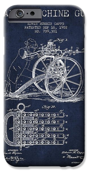 Machines iPhone Cases - Capps Machine Gun Patent Drawing from 1902 - Navy Blue iPhone Case by Aged Pixel