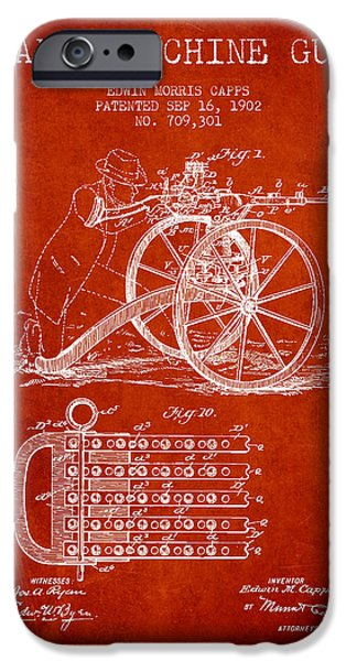 Machine iPhone Cases - Capps Machine Gun Patent Drawing from 1902 - Red iPhone Case by Aged Pixel