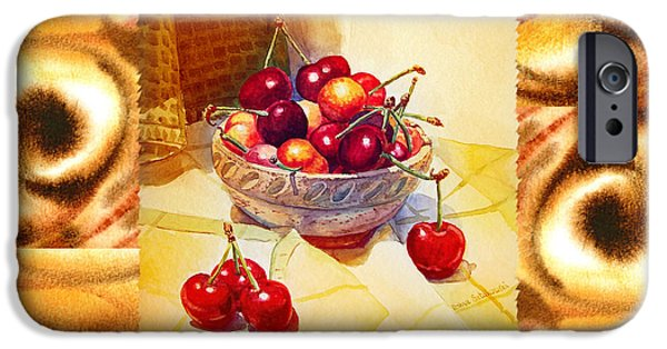 Abstractions iPhone Cases - Cappuccino Abstract Collage Cherries iPhone Case by Irina Sztukowski