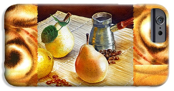 Abstractions iPhone Cases - Cappuccino Abstract Collage Pears iPhone Case by Irina Sztukowski