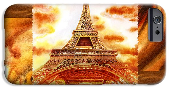 Abstractions iPhone Cases - Cappuccino In Paris Abstract Collage Eiffel Tower iPhone Case by Irina Sztukowski