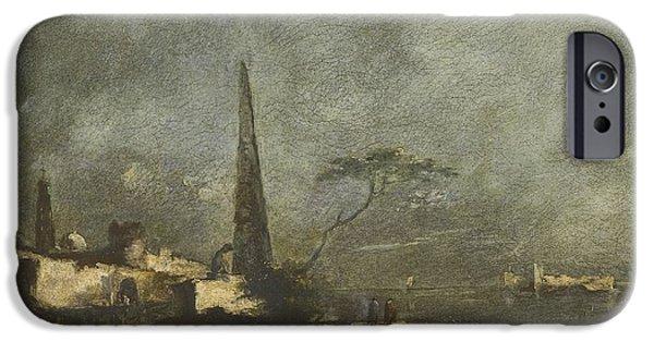 Landscape With Figure iPhone Cases - Capriccio Landscape iPhone Case by Francesco Guardi