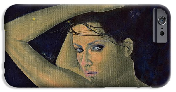 Constellation Paintings iPhone Cases - Capricorn from Zodiac series iPhone Case by Dorina  Costras