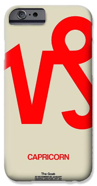 Sign iPhone Cases - Capricorn Zodiac Sign Red iPhone Case by Naxart Studio