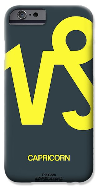 Sign iPhone Cases - Capricorn Zodiac Sign Yellow iPhone Case by Naxart Studio