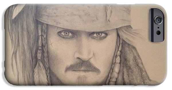 Pirate Ship Drawings iPhone Cases - Capt. Jack Sparrow iPhone Case by Ron Cartier