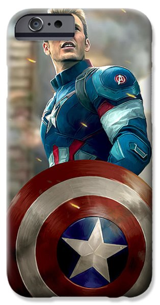 Fury Digital Art iPhone Cases - Captain America - No Helmet iPhone Case by Paul Tagliamonte