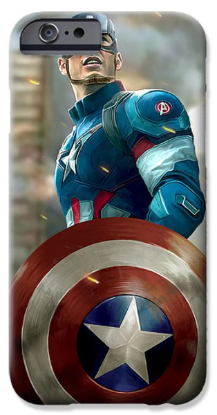 Fury iPhone Cases - Captain America - with Helmet iPhone Case by Paul Tagliamonte