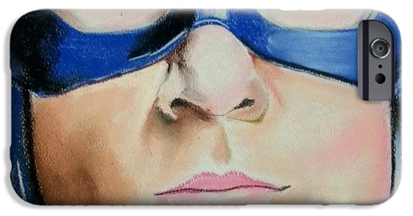 Graphite Drawing Pastels iPhone Cases - Captain America iPhone Case by Bobby Boyer