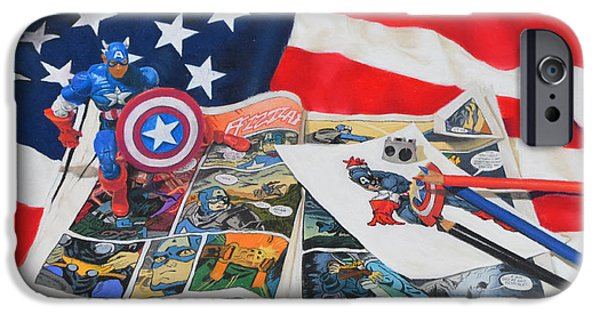 Flag Pastels iPhone Cases - Captain America iPhone Case by Joanne Grant