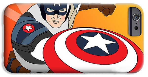 Young Digital Art iPhone Cases - Captain America iPhone Case by Mark Ashkenazi