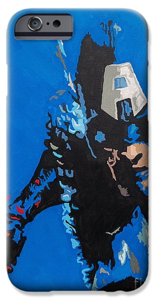 Pride Paintings iPhone Cases - Captain America - Out of the Blue iPhone Case by Kelly Hartman