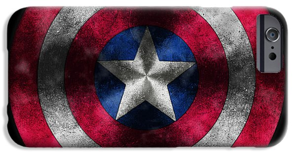 Symbol iPhone Cases - Captain America Shield iPhone Case by Georgeta Blanaru